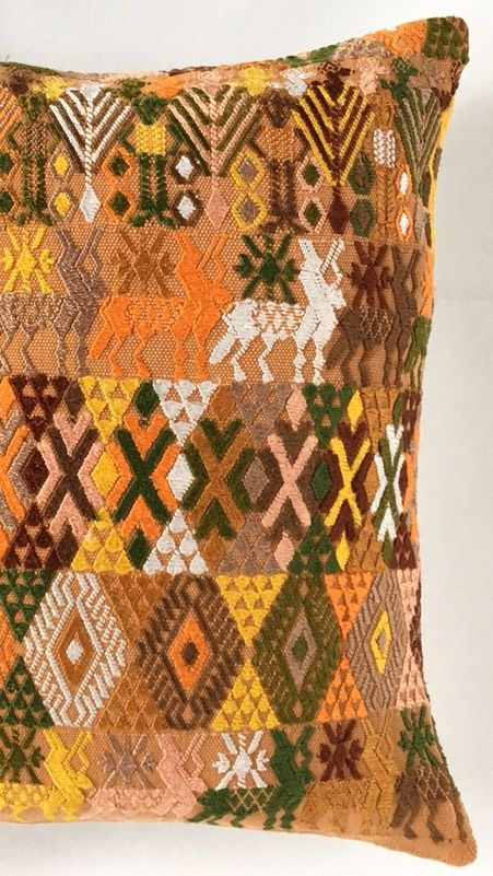Silk hand embroidered bohemian Guatemalan pillow