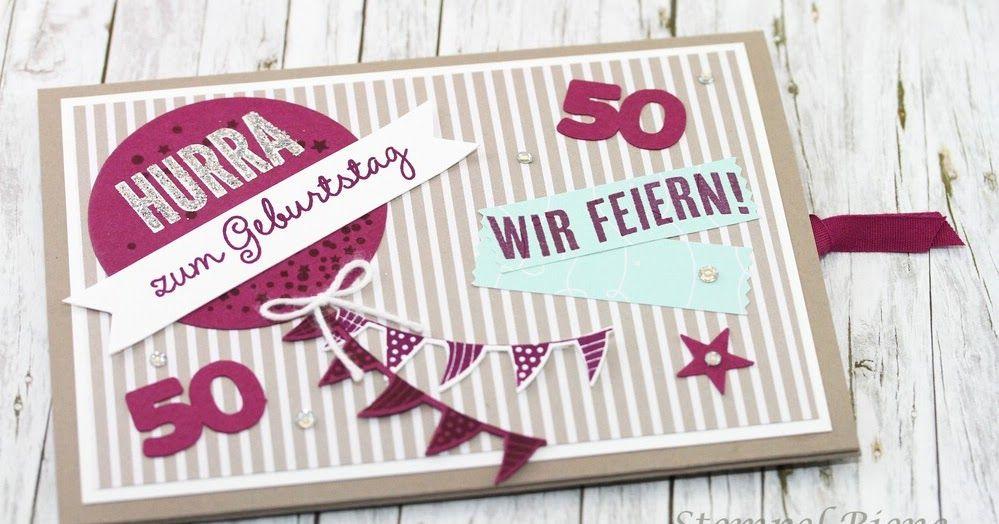Ziehkarte Zum 50 Geburtstag Mit Anleitung Einladung