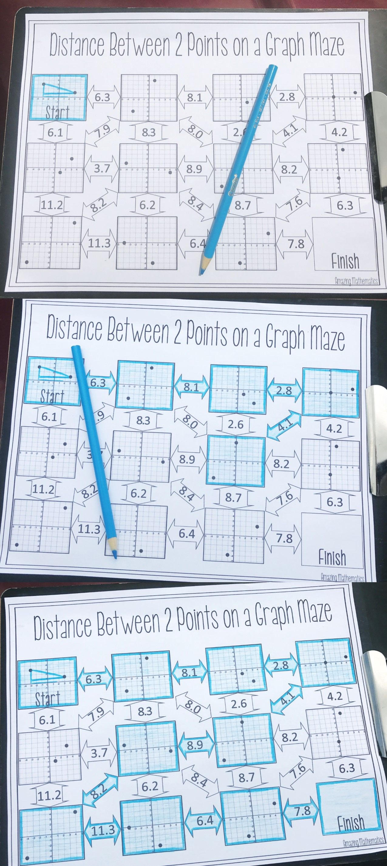 Distance maze pythagorean theorem middle school maths and math algebra robcynllc Image collections