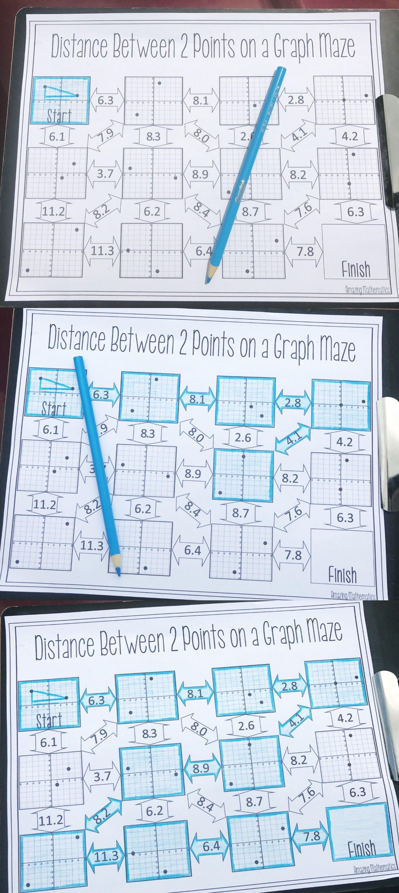 Distance Maze Worksheet 8th Grade Math Middle School Math Worksheets High School Math
