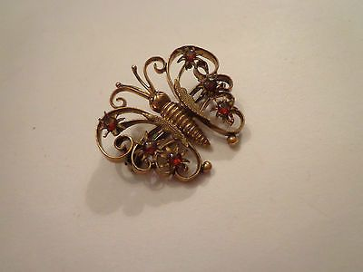 ANTIQUE-VICTORIAN-RED-PASTE-STONES-BUTTERFLY-BROOCH