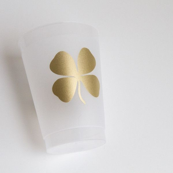 Shamrock Good Luck Gold 12 oz Frosted Cups - Set of 10 - Ready to Ship