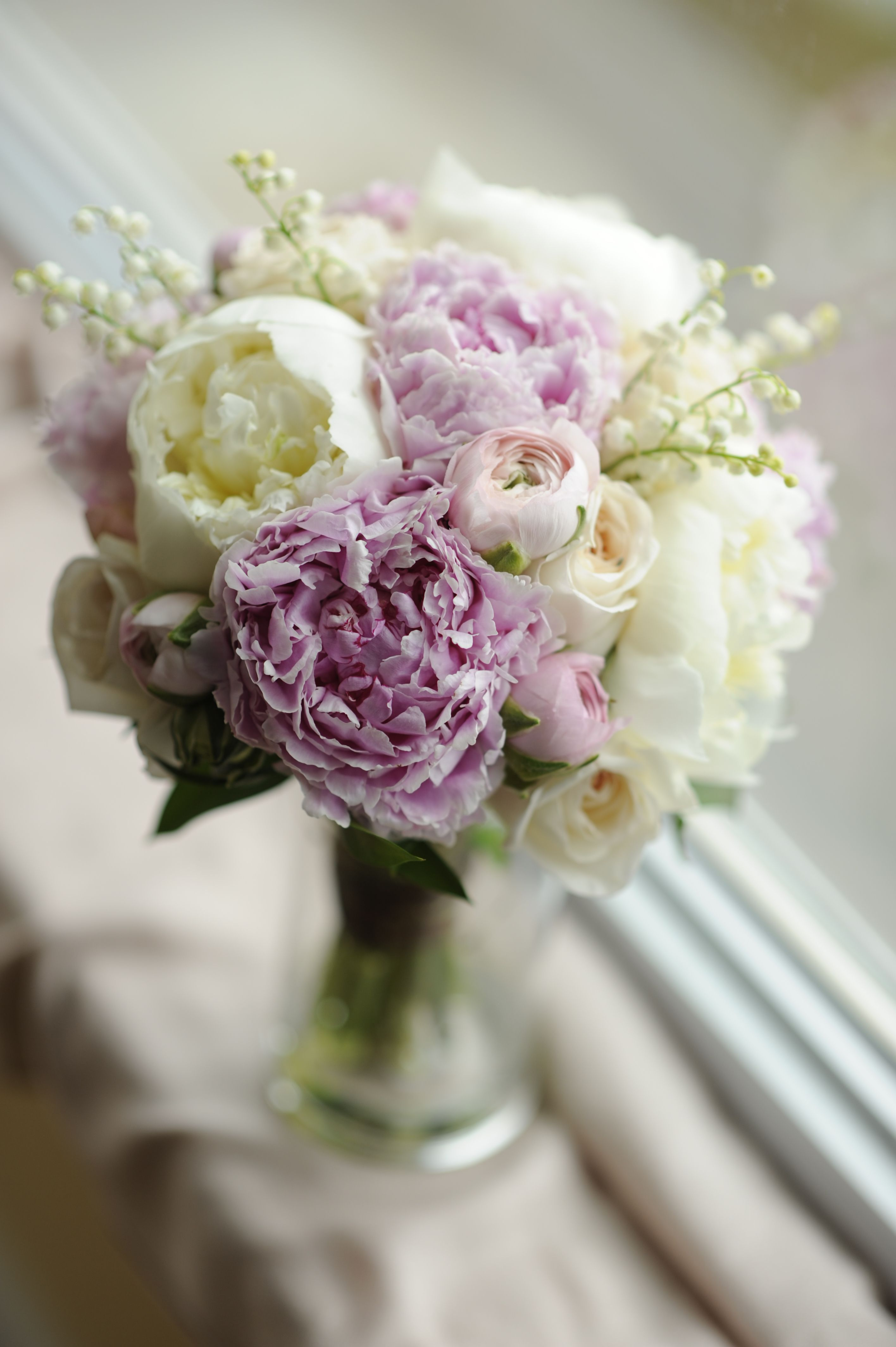 My wedding bouquet of peonies lily the valley roses