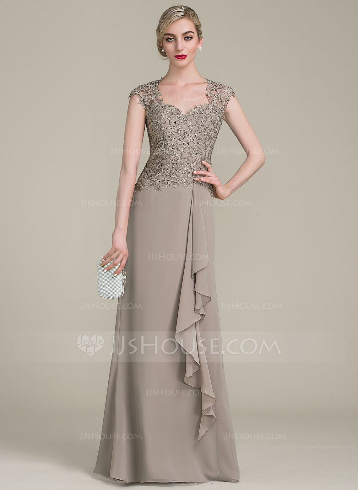 A-Line/Princess Sweetheart Floor-Length Chiffon Lace Mother of the ...