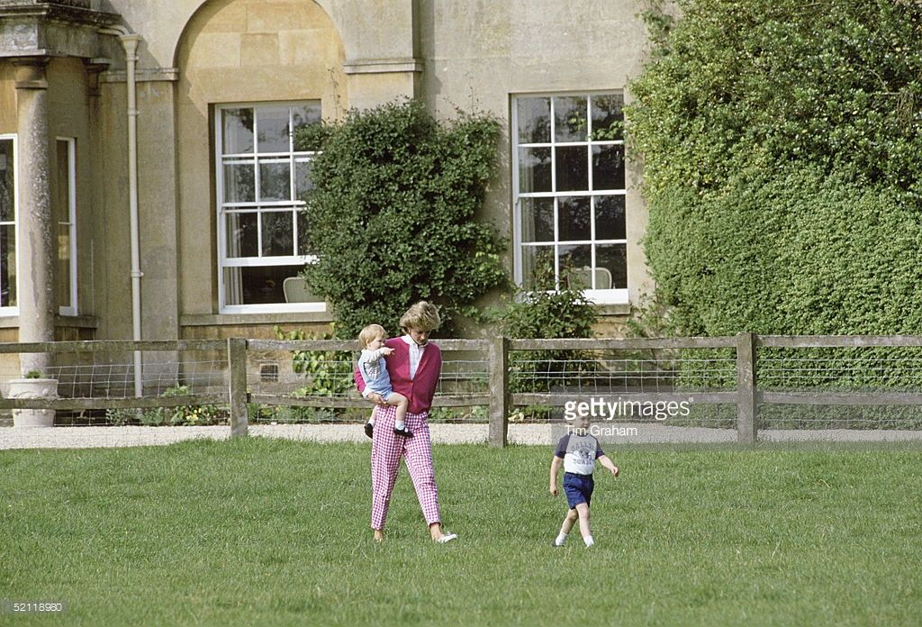 Princess Diana With Her Sons Prince William And Harry At Their Home Highgrove House