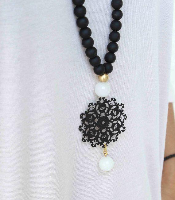 Black and white Necklace - Long Pendant Necklace - Black ...