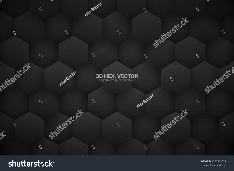 Dark Gray 3d Vector Tech Hexagonal Blocks Pattern Abstract
