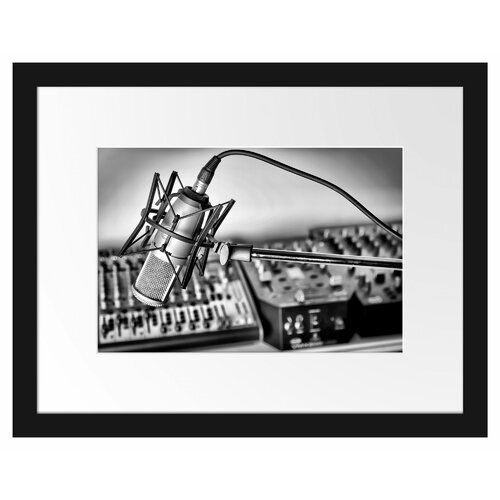 Microphone with Music System Framed Photographic Print East Urban Home #musicsystem