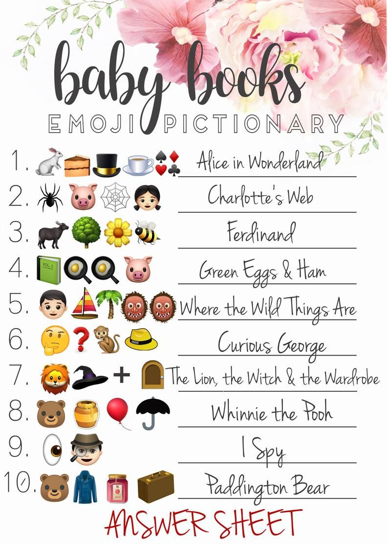 Emoji Pictionary Baby Shower Answers : emoji, pictionary, shower, answers, Shower, EMOJI, PICTIONARY, Guessing, Answers, Games,, Book,, Planning
