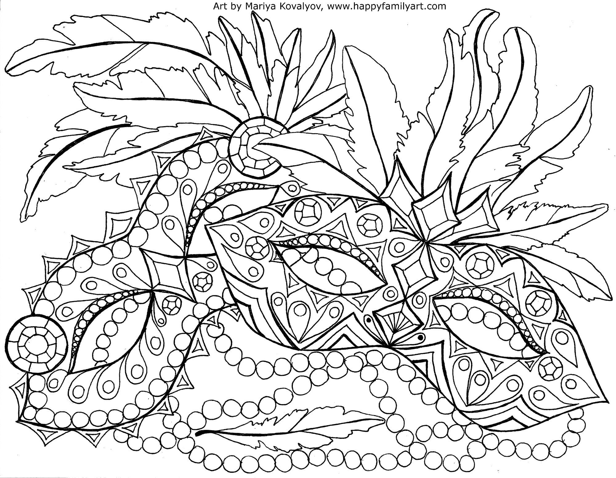 mardi gras masquerade colouring page for adults zentangles