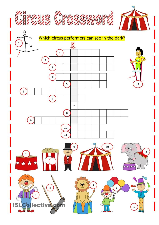 Circus Crossword Circus Activities Activity Sheets For Kids Activities [ 1440 x 1018 Pixel ]