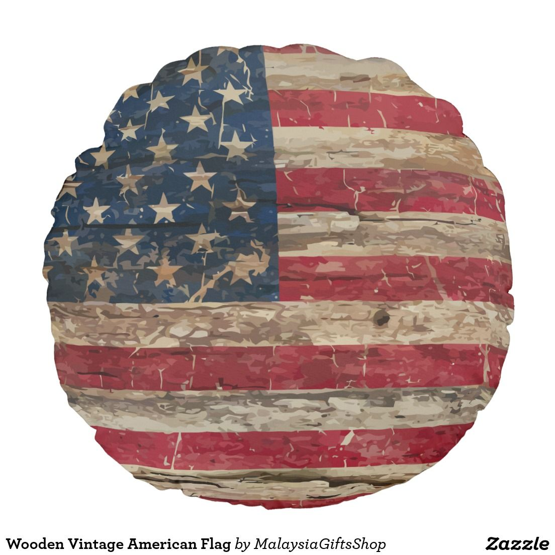 Wooden Vintage American Flag Round Pillow