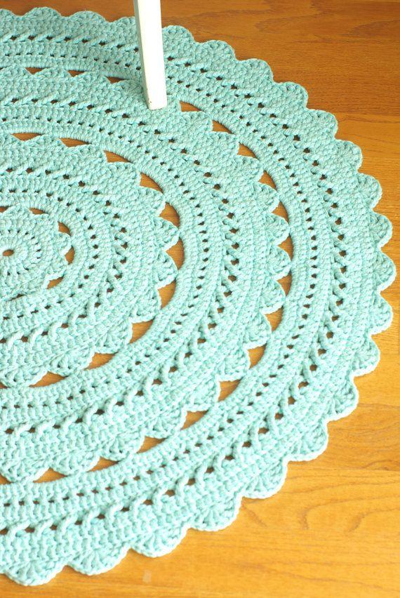 Crochet Doily Rug SARA - Aqua / Robin Egg - Round 35\