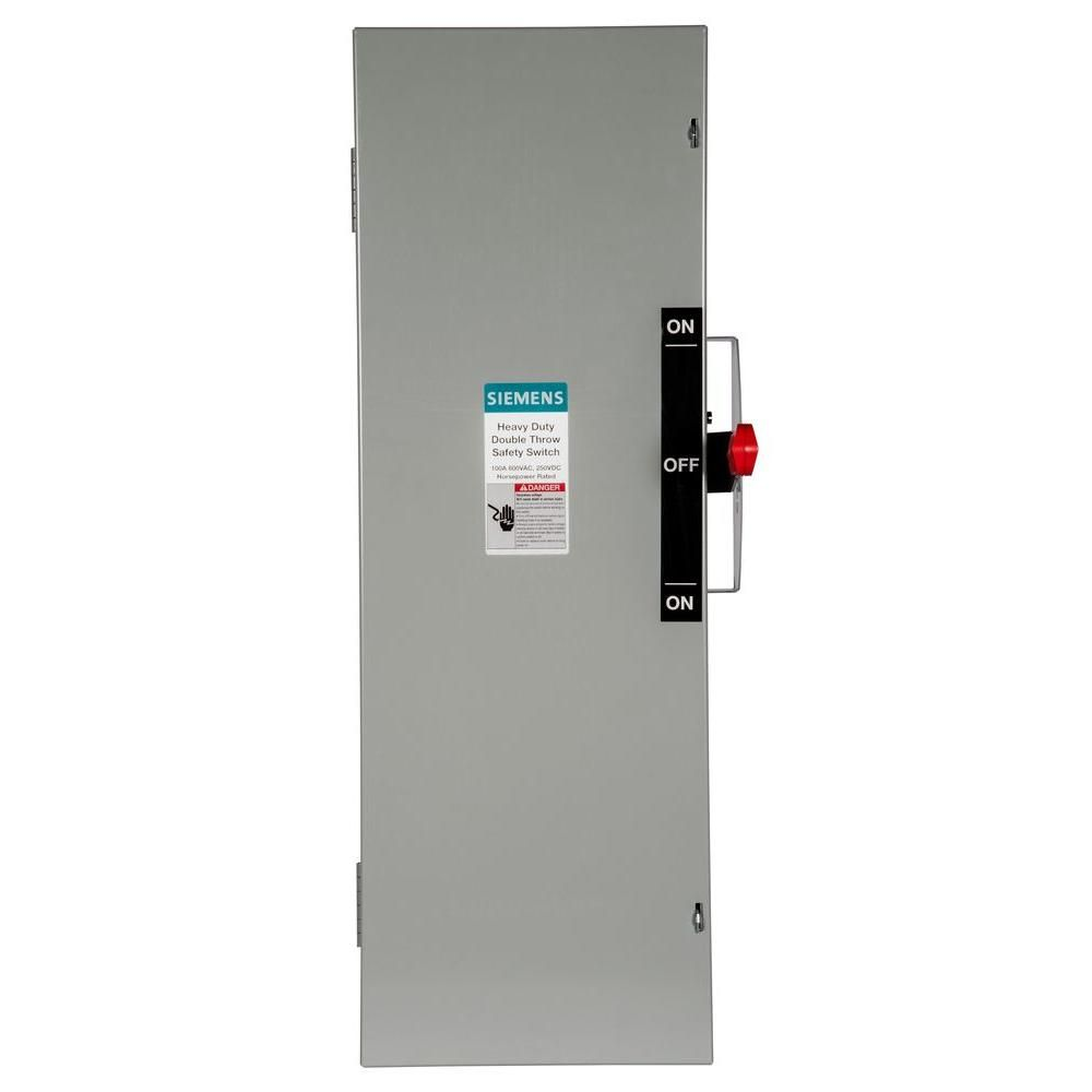 Double Throw 100 Amp 600-Volt 3-Pole Indoor Fusible Safety Switch ...