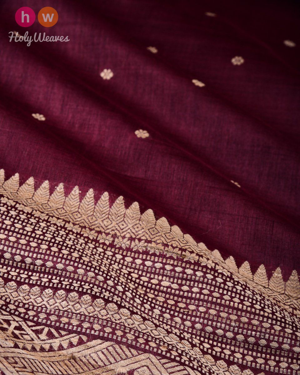Garnet Karnaphool Kadhuan Brocade Handwoven Tasar Silk Saree with Assam Pallu  #Saree #Handwoven #Brocade #Sari #Handloom #India #Varanasi #Kashi #Banaras