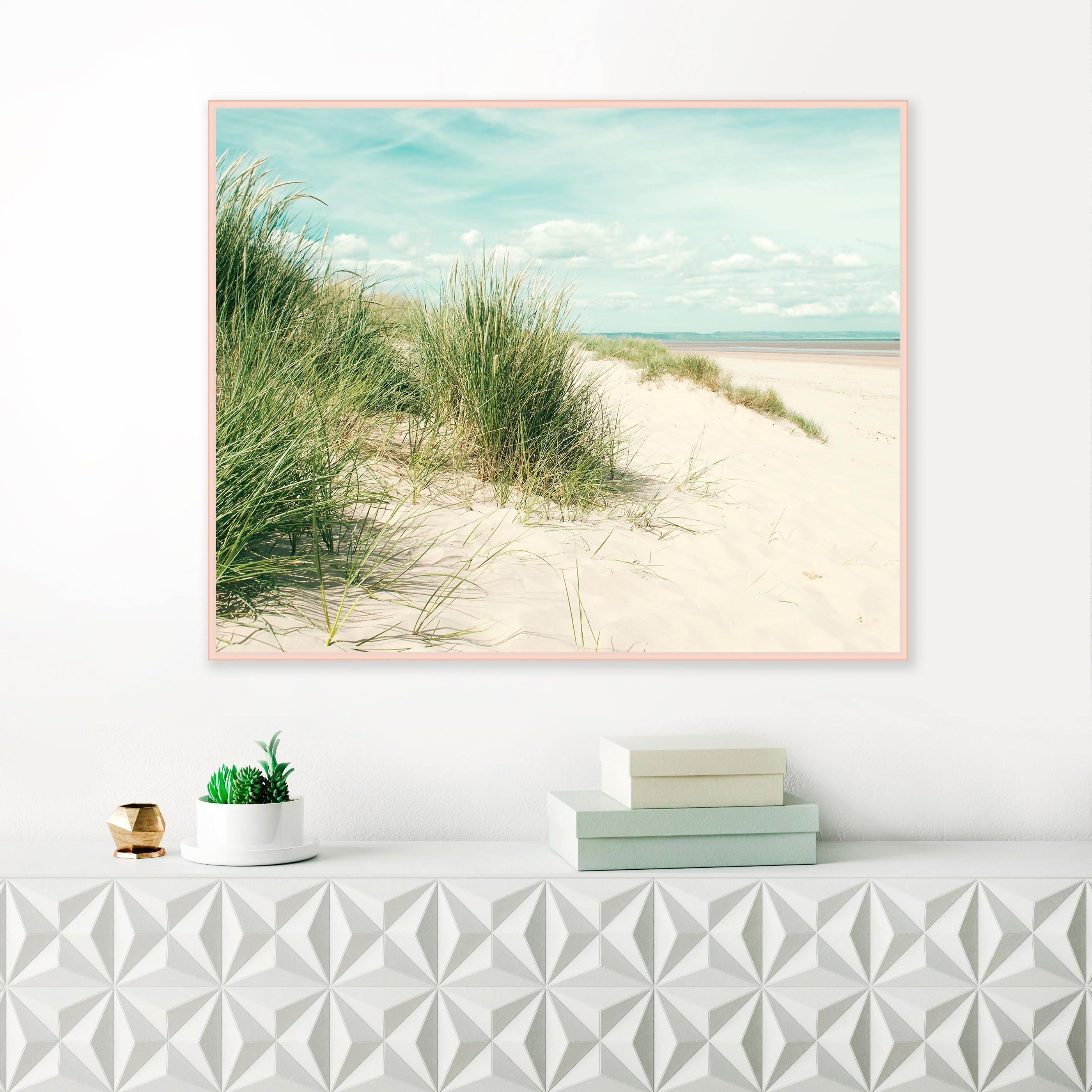 Wild grass beach print pale blue and green beach photograph