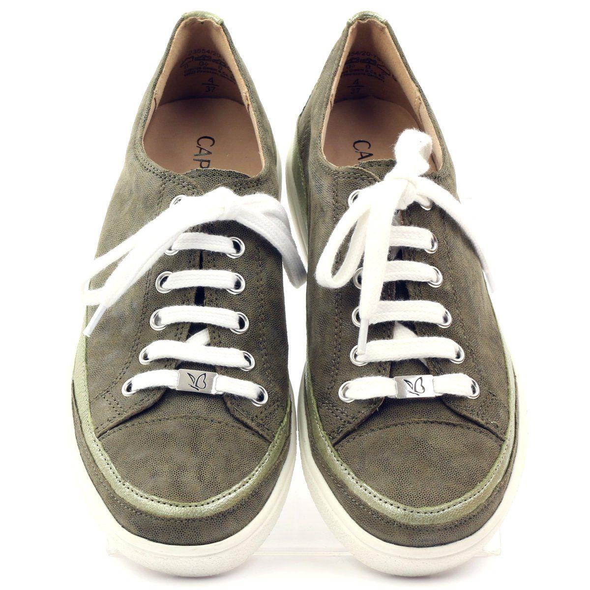 Caprice Buty Damskie Trampki Skorzane 23654 Zielone Zolte Leather Shoes Woman Women Shoes Leather Sneakers