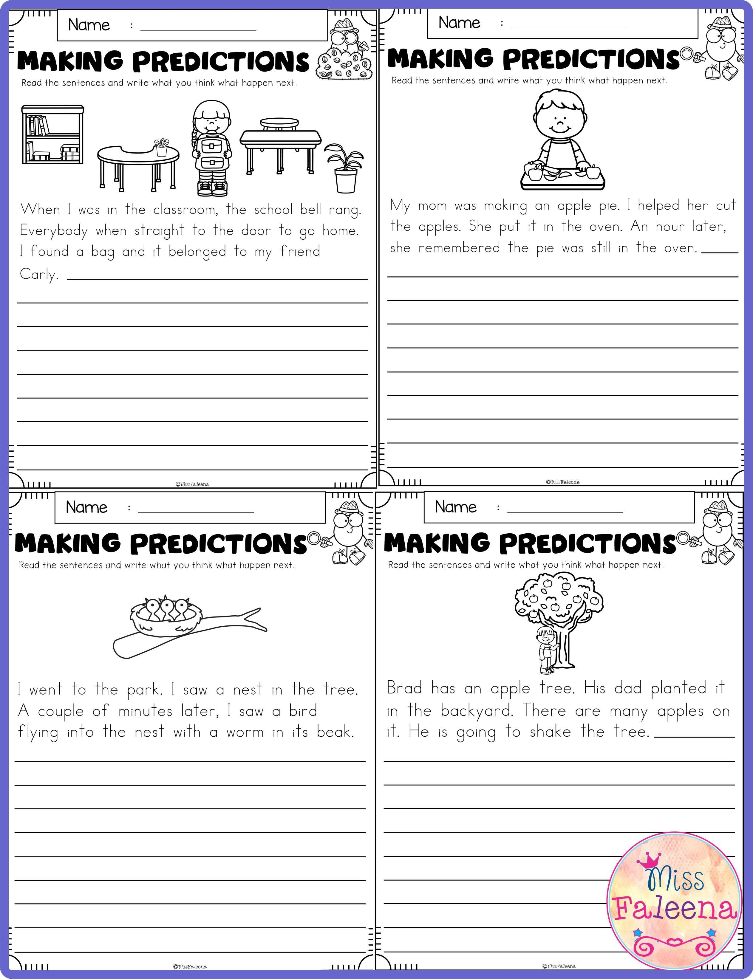 September Making Predictions Contains With Total 30 Pages Of Making Prediction Worksheets This Making Predictions 2nd Grade Worksheets First Grade Worksheets