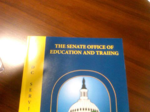 Copy of a training directory for staffers on Capitol Hill, circulated in early 2012. On page 13, it advertises a course in copy-editing and proof reading