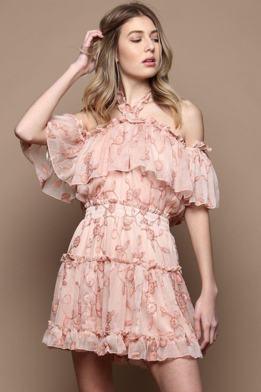 Sami Off The Shoulder Ruffle Halter Dress Blush Dresses Halter Dress Pretty Dresses [ 1280 x 853 Pixel ]