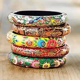 Kashmiri Floral Bangles - Set of 5