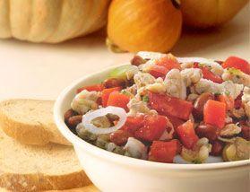 Salada de feijão roxo e vôngole