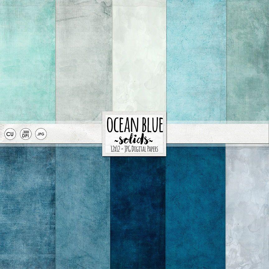 Ocean Blue Digital Paper Solid Textured Digital Card Stock