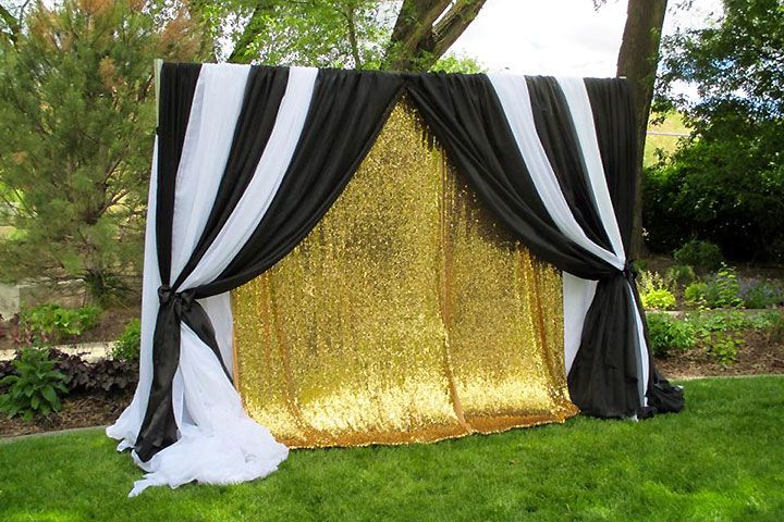Black White And Shimmery Gold Backdrop Black Gold Party Gold