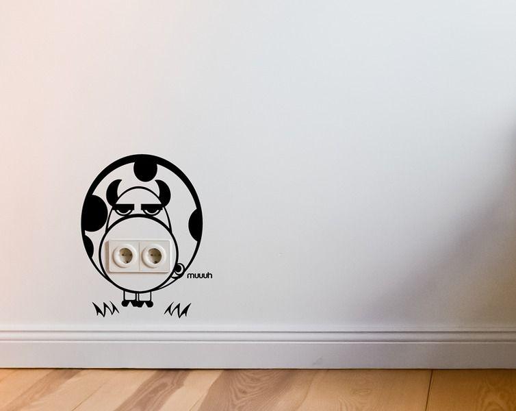 Wandtattoo wohnzimmer ~ Steckdosen wÄchter muh kuh wandtattoo cow sticker wandtattoo