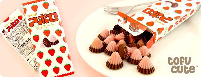 Buy Meiji Apollo Strawberry Chocolate Cones At Tofu Cute Chocolate Cone Chocolate Strawberries Chocolate