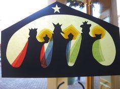 fensterbilder zu weihnachten bunt pergament heilige drei koenige jesus