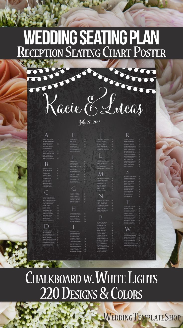 Wedding reception seating chart poster featuring  rustic chalkboard background with white hanging string lights this is print ready document your also rh pinterest