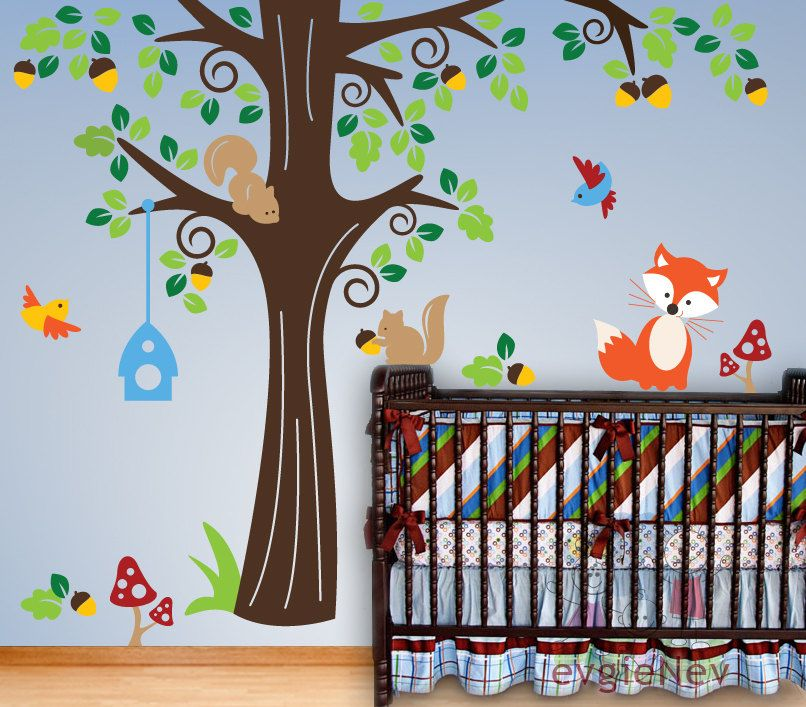 Nursery Kids Removable Wall Vinyl Decal Animals In The Wood Wall - Vinyl wall decals animals