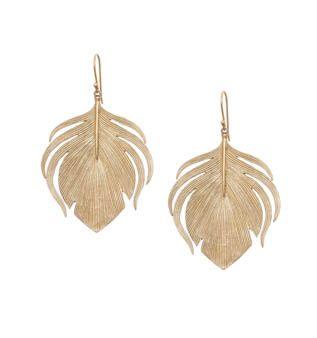 Large Peacock Feather Earrings.  Annette Ferdinandsen.