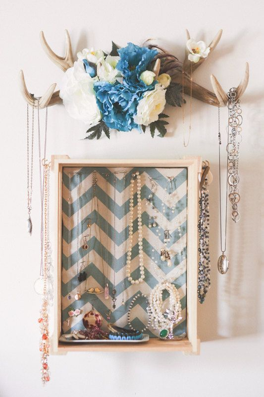 Floral Deer Antler Jewelry Display by JenniferLingPhotos on Etsy, $60.00