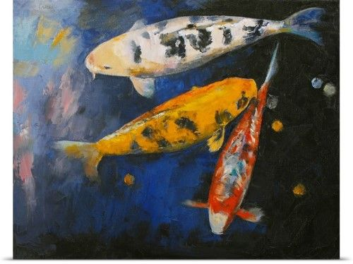 Michael Creese Poster Print Wall Art Print entitled Bekko and Shusui Koi, None