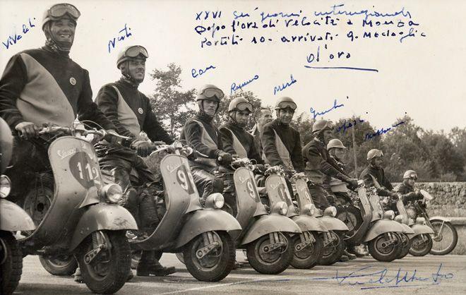 1951 Sei Giorni di Varese - Cu con gli altri piloti Vespa