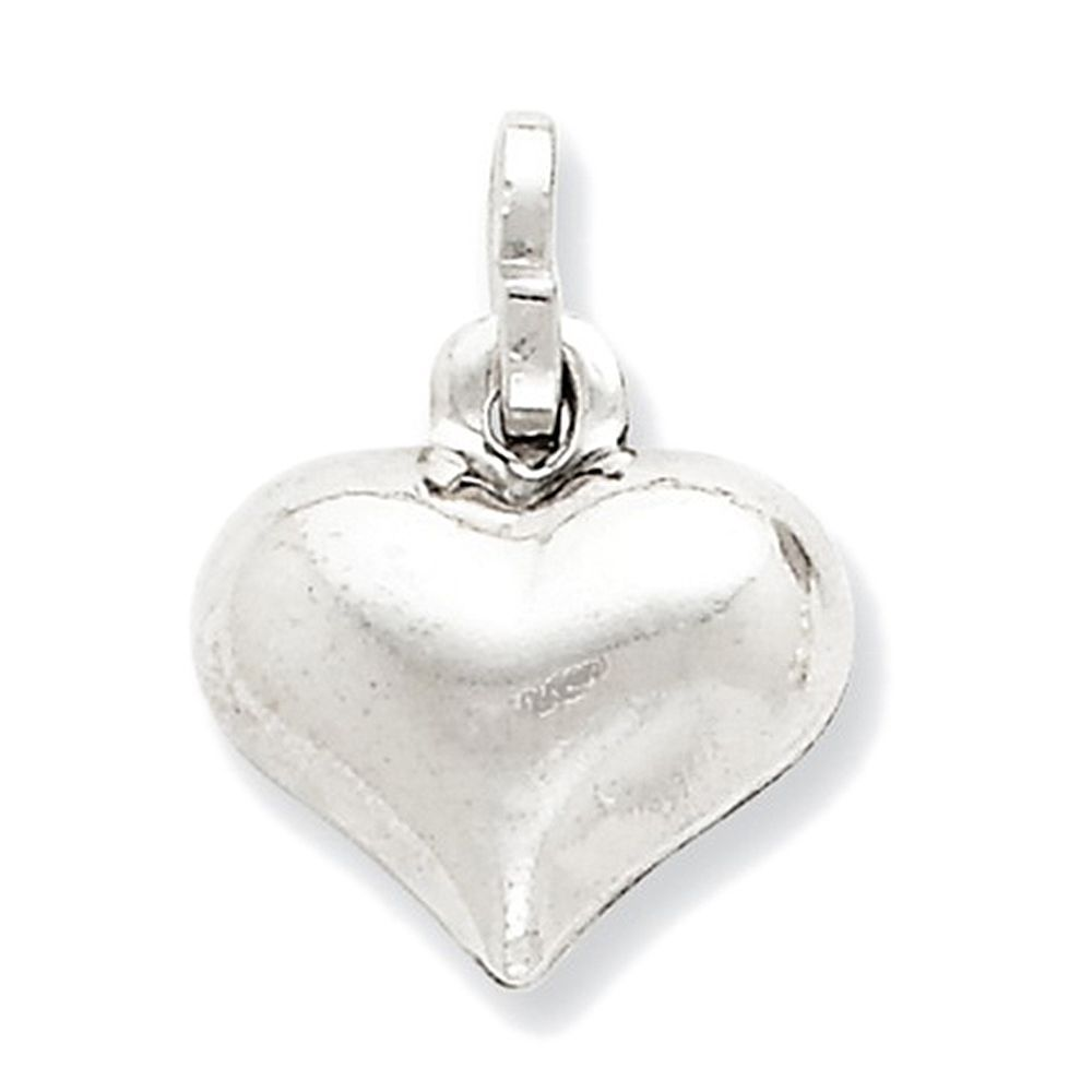 925 Sterling Silver Simple Puff Heart Charm Pendant - 14mm
