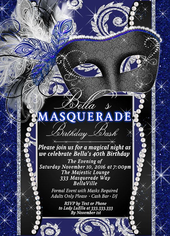 Masquerade Party Invitation Mardi Gras By BellaLuElla