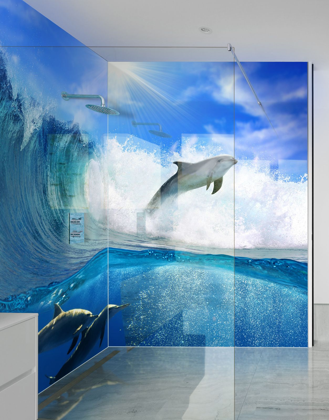 Dolphins And Waves Picture Shower Panels Shower Panels Acrylic Wall Panels Shower Pics