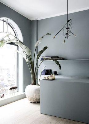 cool Déco Salon - intérieur bleu-gris, couleur de l\'année 2017 ...