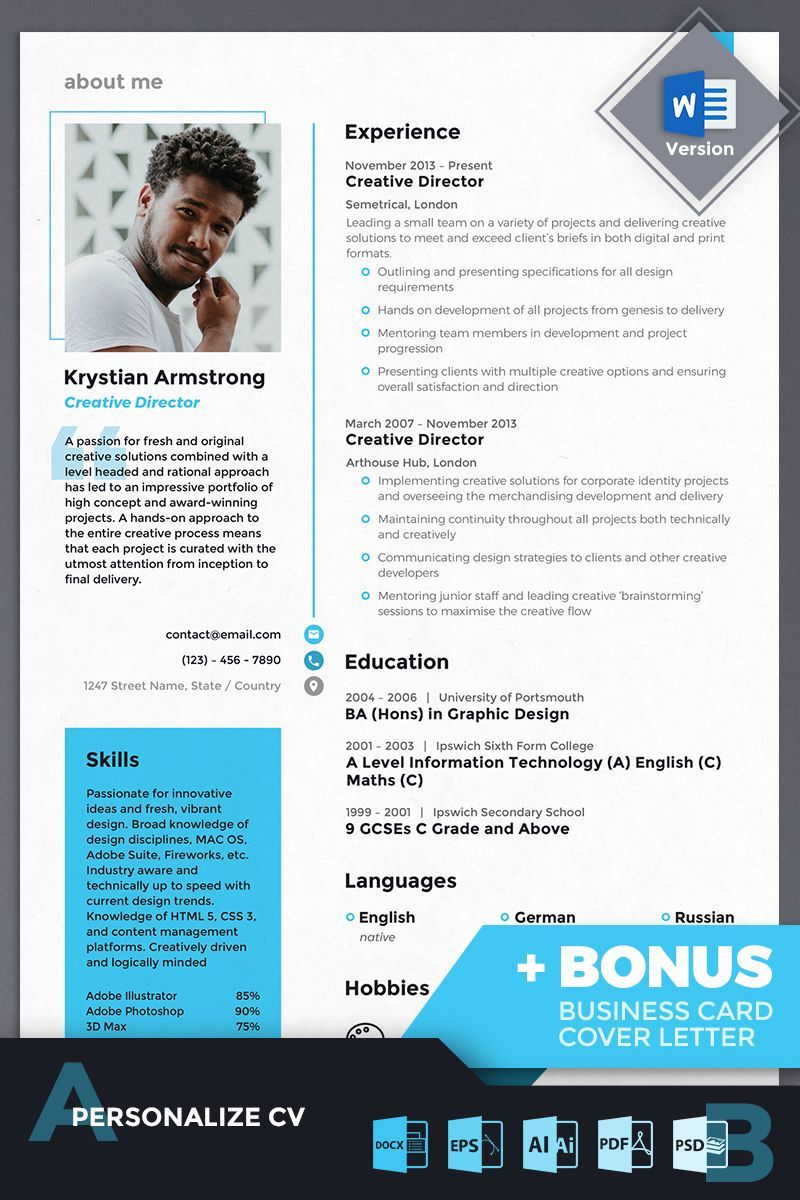 Krystian armstrong creative d irector resume template