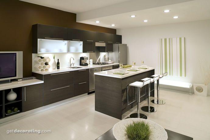 Cocina gris madera con puertas de vidrio Cocinas modernas - Imagenes De Cocinas