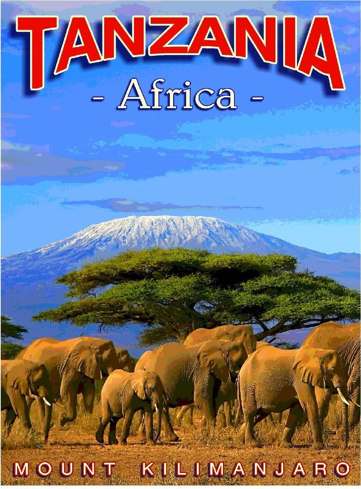 Tanzania Mount Kilimanjaro Africa African Travel Art Poster Advertisement in Posters | eBay