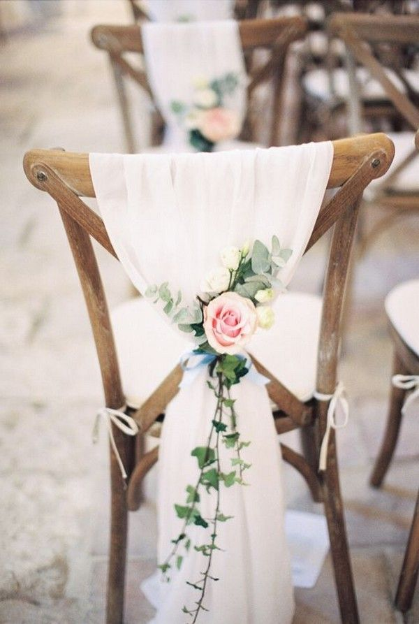 Rose And Eucalyptus Chic Wedding Chair Decoration Ideas