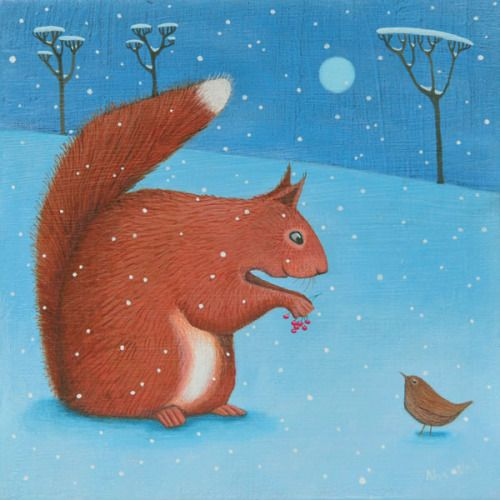 """Natures Larder"" Red Squirrel and wren in the snow medium print"