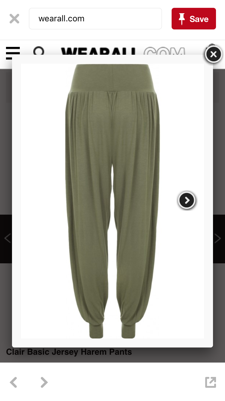 Jersey harem pants, khaki. Can be shortened with straps to make Rey-pants
