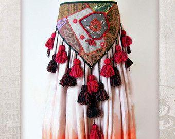 Tribal belly dance ATS Hip scarf Hip Schawl Hip Wrap by HajnaLuna