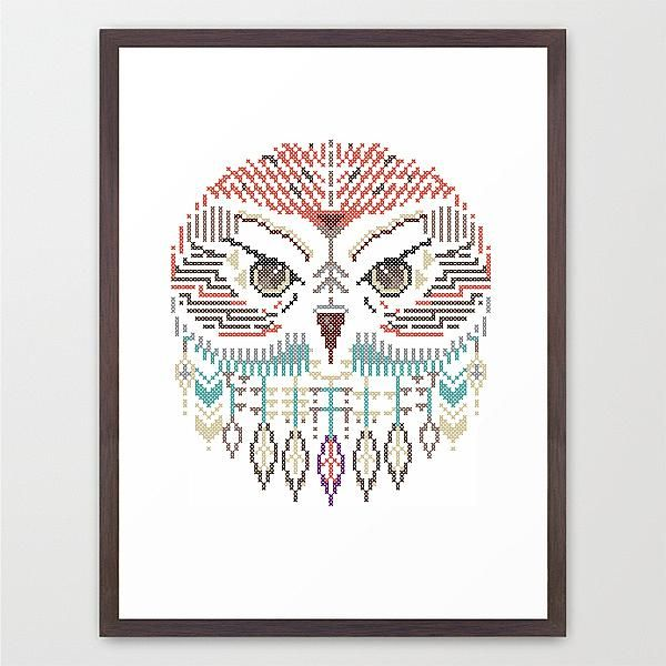 chouette hibou oiseau animal poster affiche pixel sauvage enfant illustration. Black Bedroom Furniture Sets. Home Design Ideas