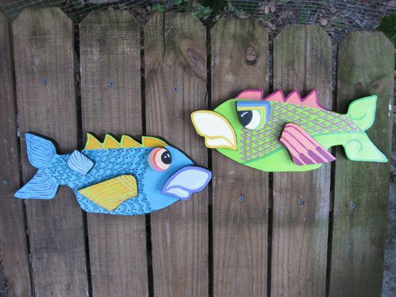 Crazy Cool PAINTED Wood FISH Sculpture, Wall Hanging Plaque, Wall Decor,  Outside Decor, Lime Green, Angry Fish, Colorful Unique Original